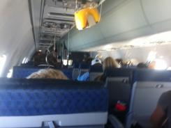 Air traveler Myron Hayden recently had to put an emergency oxygen mask on during a flight, He took this picture of the cabin during the emergency.