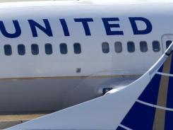 United Continental Airlines jets at Cleveland Hopkins Airport.