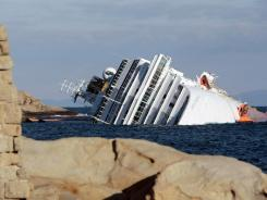 The cruise ship Costa Concordia on its side Tuesday off the tiny Tuscan island of Giglio, Italy.