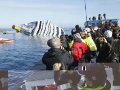 People take pictures of the grounded cruise ship Costa Concordia off the Tuscan island of Giglio, Italy, on Saturday.