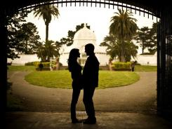 A couple shares a moment in front of the Conservatory of Flowers in San Francisco's Golden Gate Park on June 6, 2010.