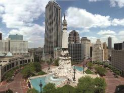 The 285-foot Soldiers and Sailors Monument stands in the middle of Monument Circle in downtown Indianapolis.