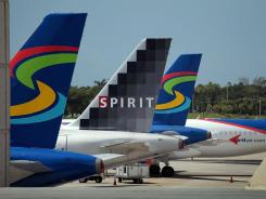 Spirit Airlines planes at Fort Lauderdale International Airport.