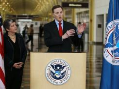 Transportation Security Administration Administrator John Pistole talks to the news media Wednesday.