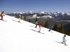 Ski-school students make their way down a Vail, Colo., slope.