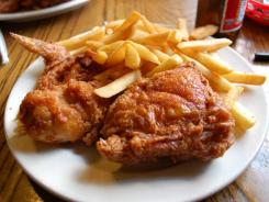 Good fried chicken is never smooth: Willie Mae's version is heavily pitted with a crunchy, crispy but not greasy three-dimensional skin. This is the standard order: a 3-piece dark meat plate with sides. The fries are excellent too.