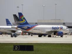 Spirit Airlines jets at Fort Lauderdale-Hollywood International Airport.