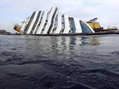 A view of the grounded cruise ship Costa Concordia off the Tuscan island of Giglio, Italy, on Feb. 5.