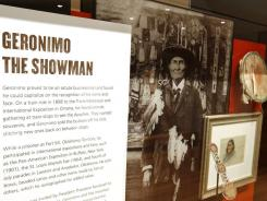 An exhibit featuring Geronimo and other Apache tribe warriors in history includes personal possession as well as photographs, paintings and other artifacts.