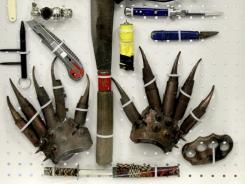 Items confiscated by the Transportation Security Administration are displayed at the TSA's training center at Newark Liberty International Airport on Nov. 17, 2011.