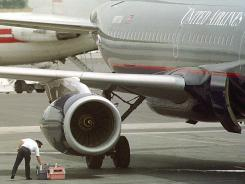 A crew member of a United Airlines flight with pet carriers in this 2000 photo in Billings, Mont.