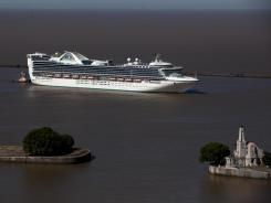 File photo of the Star Princess cruise ship leaving Buenos Aires' port in Argentina in January.
