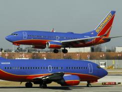Southwest Airlines planes at Chicago's Midway Airport.