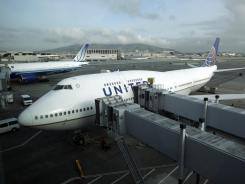 A United Airlines Boeing 747 jet at San Francisco International.