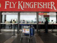 The Kingfisher Airlines booking counter in Mumbai, photographed Feb. 21.