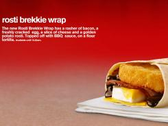 The potato breakfast wrap available at McDonald's locations in Australia is called the Rosti Brekkie Wrap.