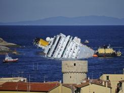 The stricken cruise ship Costa Concordia off the Isola del Giglio.