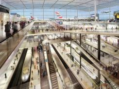 An artist's rendering of what an airport in the Thames River outside London might look like.