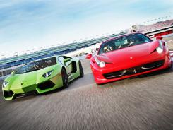 At Exotics Racing in Las Vegas, tourists can drive the world's hottest cars on a track, accompanied by a professional driver. Five laps in a Lamborghini or Ferrari cost $299. Here, a Lamborghini Aventador, left, and Ferrari 458 Italia take to the track.