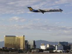 An Allegiant Air flight prepares to land in Las Vegas.