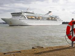 The MS Balmoral cruise ship leaves for the Titanic Memorial Cruise from Southampton, England.