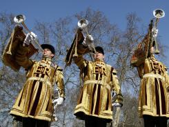 State trumpeters of the Household Cavalry Regiment at Wellington Barracks in London.