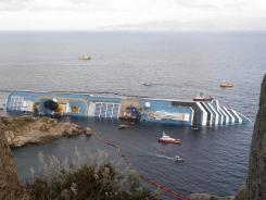 The Costa Concordia remains on its side Jan. 22 off the Italian island of Giglio.