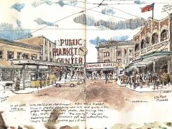 Seattle's Pike Place Market, globally known for its fish-throwing fishmongers, has plenty of visual candy for the sketcher.
