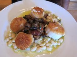 A typical daily special at Burdick's features fresh diver scallops.