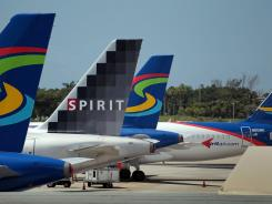 Spirit Airlines planes on the tarmac at Fort Lauderdale International.