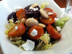 A beet salad with tomatoes and Marcona almonds ($8) at the Tryp by Wyndham hotel's casual lobby restaurant in New York City.
