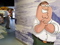 A likeness of cartoon character Peter Griffin, from the Fox animated program the 'Family Guy' stands in the Rhode Island Visitor's Center, in Pawtucket, R.I.