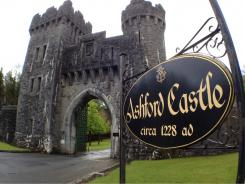 The entrance sign to County Mayo's five-star Ashford Castle, which once served as a retreat for the Guinness clan of beer fame.