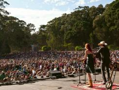 Gillian Welch and David Rawlings perform at San Francisco's annual free music gathering, the Hardly Strictly Bluegrass Music Festival in Golden Gate Park in 2011.