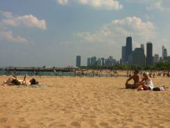Chicago North Avenue Beach has Lake Michigan to the east, Chicago to the south. But people-watching offers the best views.