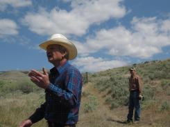 Max Benitz, left, at the McWhorter Ranch in Benton County, Wash., on May 18.