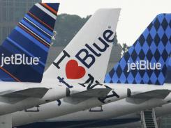 JetBlue planes at Long Beach Airport outside Los Angeles.