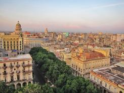 A view from Old Havana's Hotel Sevilla includes the tree-lined boulevard known as Paseo del Prado.