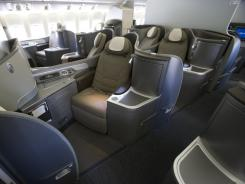 These seats on a reconfigured United Boeing 777-200 are capable of reclining fully flat.