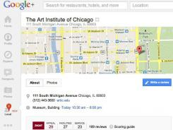 Google+ Local gives you search results plus Zagat ratings for restaurants where you are. You can also find hotels and attractions.