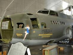 "The B-17F ""Memphis Belle"" in the restoration hangar at the National Museum of the U.S. Air Force in Dayton, Ohio."