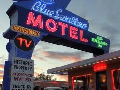 The Blue Swallow Motel on Route 66 in Tucumcari, N.M., is on the National Register of Historic Places.