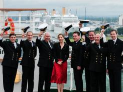 Darcey Bussell, godmother of the Azura, joins officers from all seven ships at a celebration to mark the 175th anniversary of P&O Cruises at Southampton, England.