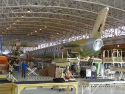 An Embraer jet in production at a companyplant in Sao Jose dos Campos.