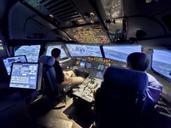 A U.S. Airways Airbus A320 simulator at the airline's training center in Charlotte, N.C.