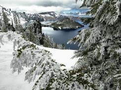 Crater Lake National Park blanketed with snow in May.