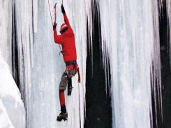 Howie Meivogel, of Morristown, N.J., ascends a frozen waterfall in the Delaware Water Gap National Recreation Area.