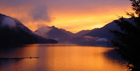 Lake Crescent at sunrise in Olympic National Park.