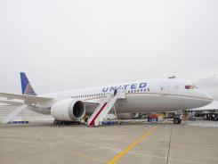 United's first Dreamliner was unveiled Thursday, Aug. 2, 2012, at Boeing's Everett, Wash., factory.
