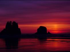 Majestic colors paint the sky at Olympic National Park, Wash., in this prize-winning photo of the National Parks Pass Experience: Your America Photo Contest.